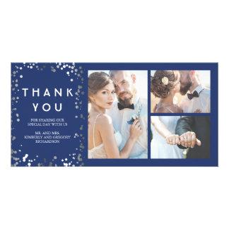 Merci élégant de mariage de marine de confettis carte