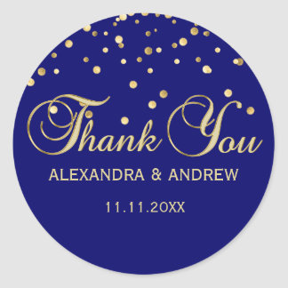 Merci élégant de mariage d'or de bleu marine sticker rond