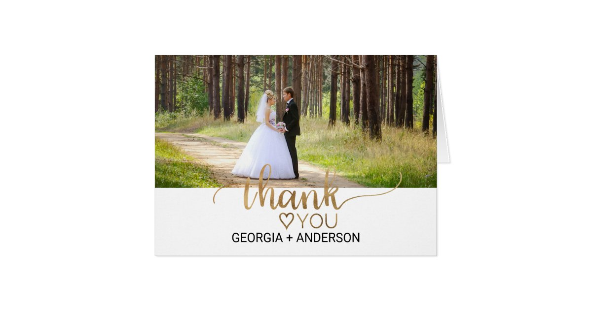 merci l gant de photo de mariage de calligraphie cartes de v ux zazzle. Black Bedroom Furniture Sets. Home Design Ideas