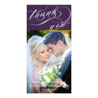 Merci élégant personnalisé de mariage de manuscrit carte avec photo