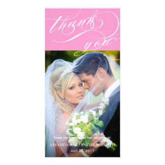 Merci élégant personnalisé de mariage de manuscrit cartes de vœux avec photo