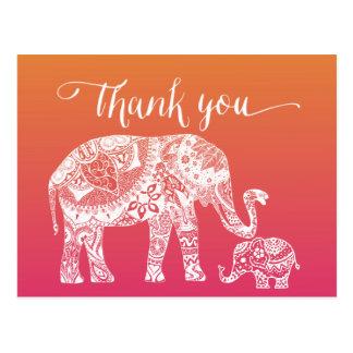 Merci - éléphant de henné carte postale