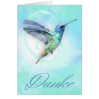 Merci en allemand - carte de colibri d'aquarelle