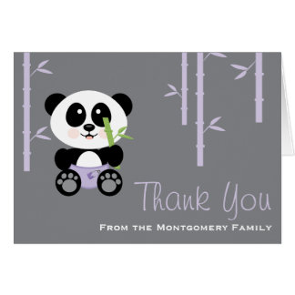 Merci en bambou pourpre de baby shower de cartes de vœux