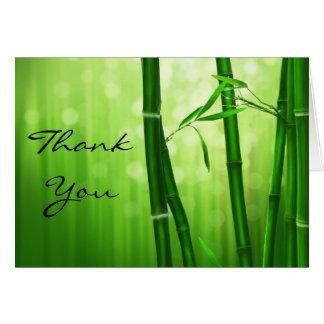 Merci en bambou vert cartes de vœux