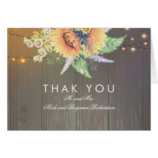 Merci en bois de tournesols rustiques et de cartes de vœux