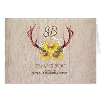 Merci en bois rustique de mariage d'andouillers de cartes de vœux