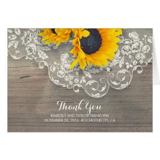 Merci en bois rustique de mariage de dentelle de cartes de vœux