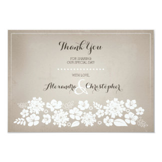 Merci en ivoire vintage d'arrière - plan de fleurs carton d'invitation 8,89 cm x 12,70 cm