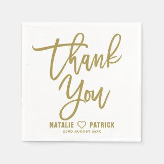 Merci en lettres de mariage de main d'or serviettes jetables