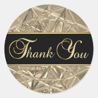 Merci en verre métallique d'or noir unique élégant sticker rond