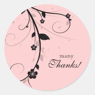 Merci épousant le rose floral blanc noir sticker rond