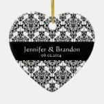 Merci fleuri noir et blanc de mariage damassé décoration pour sapin de noël