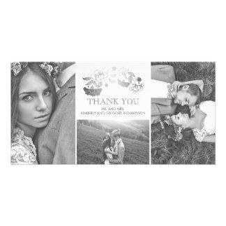 Merci floral blanc et argenté de mariage carte