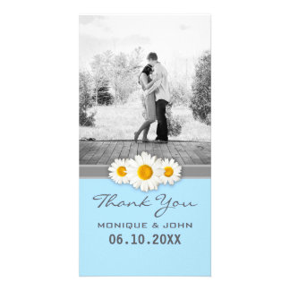 Merci floral bleu doux de marguerites de mariage photocarte
