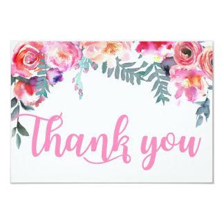 Merci floral d'aquarelle moderne carton d'invitation 8,89 cm x 12,70 cm