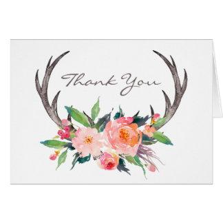 Merci floral de Boho d'andouillers rustiques Cartes