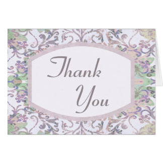 Merci floral de damassé de lavande cartes de vœux