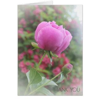 Merci floral de fleur de pivoines roses de pivoine cartes de vœux