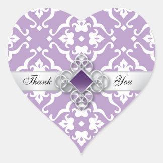 Merci floral de mariage damassé de lavande sticker cœur