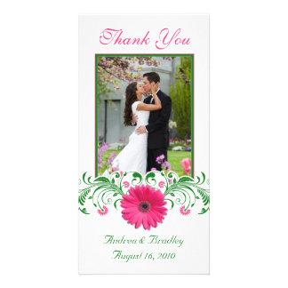 Merci floral de mariage de Gerbera de vert rose de Modèle Pour Photocarte