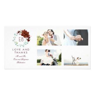 Merci floral de mariage de monogramme de Bourgogne Carte