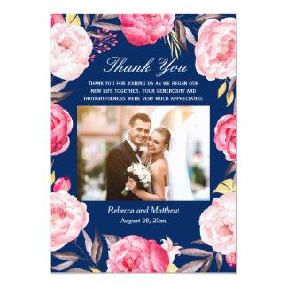 Merci floral de mariage de photo de bleu marine de carton d'invitation  12,7 cm x 17,78 cm