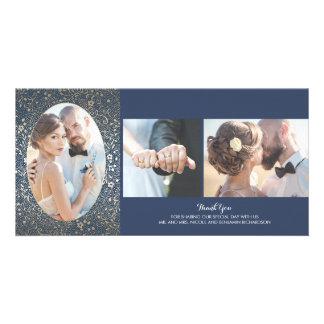 Merci floral de mariage de photo d'or et de marine carte