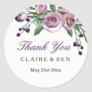 Merci floral de mariage de prune de rose sticker rond