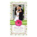 Merci floral de mariage de ruban de vert rose de m photocartes personnalisées