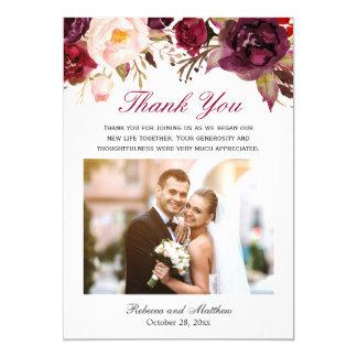 Merci floral de photo de mariage de Bourgogne Carton D'invitation 12,7 Cm X 17,78 Cm