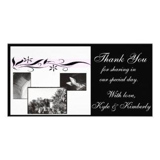 Merci floral de rose et de noir épousant le carte  cartes avec photo