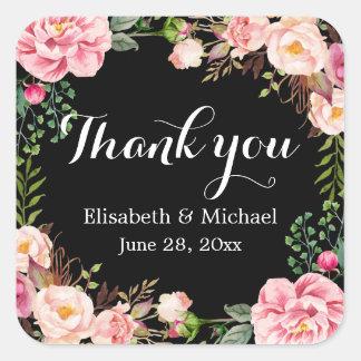 Merci floral magnifique d'enveloppe de guirlande sticker carré