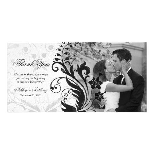 Merci floral noir et blanc Photocard de mariage Cartes Avec Photo