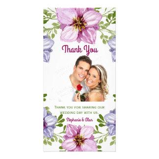 Merci floral rose pourpre de mariage de guirlande photocarte customisée