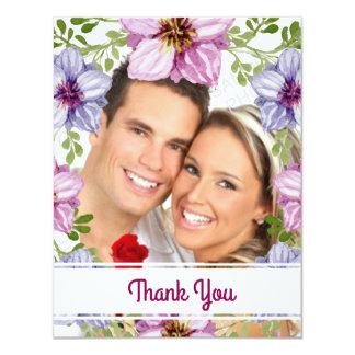 Merci floral rose pourpre de photo de mariage de carton d'invitation 10,79 cm x 13,97 cm