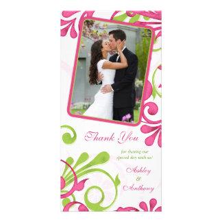 Merci floral rose, vert, blanc de mariage photocartes personnalisées