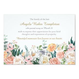 Merci funèbre commémoratif de roses d'aquarelle carton d'invitation 8,89 cm x 12,70 cm
