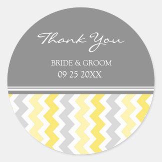 Merci gris jaune de Chevron épousant des Sticker Rond