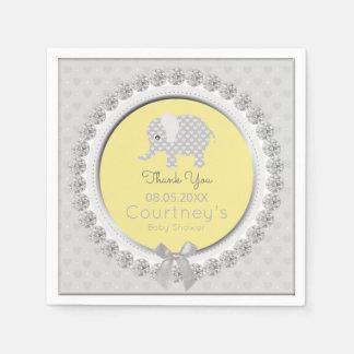 Merci gris jaune élégant de baby shower d'éléphant serviettes en papier