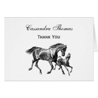 Merci H de poulain de bébé de mère de chevaux Cartes De Vœux