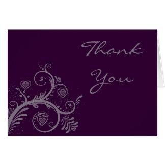 Merci ID169 d'aubergine d'amoureux Cartes De Vœux