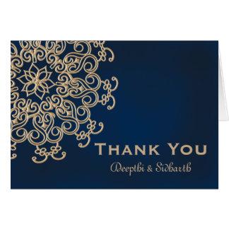 Merci indien de mariage de style de marine et d'or cartes de vœux