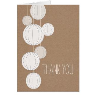 Merci inspiré de carte de lanternes blanches