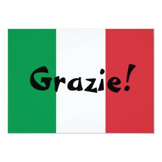Merci italien de drapeau carton d'invitation  12,7 cm x 17,78 cm