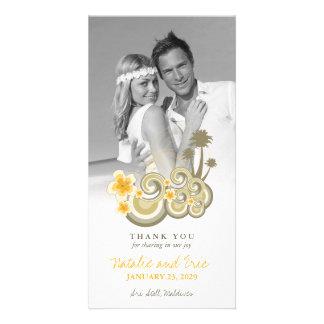 Merci jaune de mariage de ketmie de vagues cartes de vœux avec photo