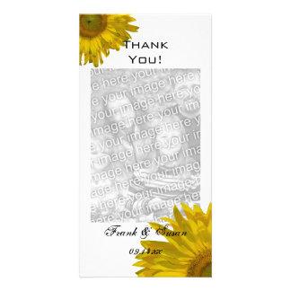 Merci jaune de tournesol photocarte customisée