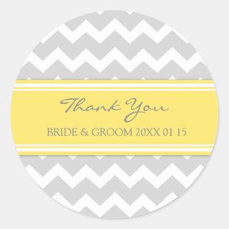 Merci jaune gris de Chevron épousant des Sticker Rond