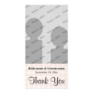 Merci léger de mariage de motif de contrôle de ros carte avec photo