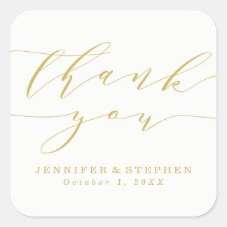 Merci l'épousant chic du manuscrit   sticker carré